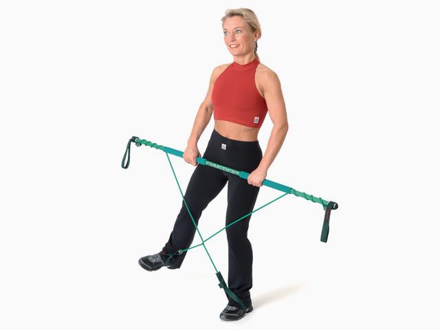 Frau in Ausgangsstellungg der Übung Bein-Seitheben (Abduktion) für den Gymstick