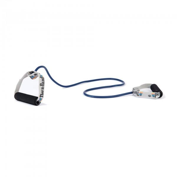 Produktbild TheraBand Bodytrainer Tubing mit Schaumstoffgriffen, extra stark / blau